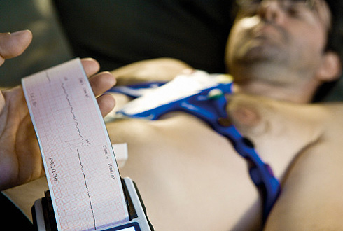 Doctor performing portable EKG (electrocardiogram) on patient
